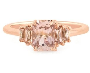Trabert Goldsmiths 5 Stone Peach Sapph Rose Gold Ring E1379