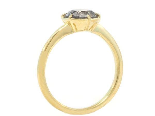 Trabert Goldsmiths 1.00 Carat Salt & Pepper Diamond Six Prong Ring