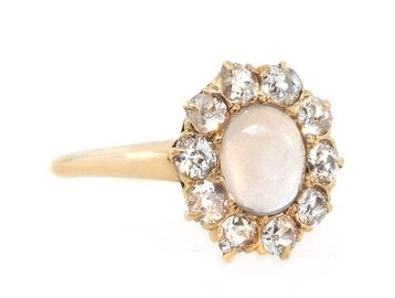 Trabert Goldsmiths Antique Moonstone and Dia Ring E1396