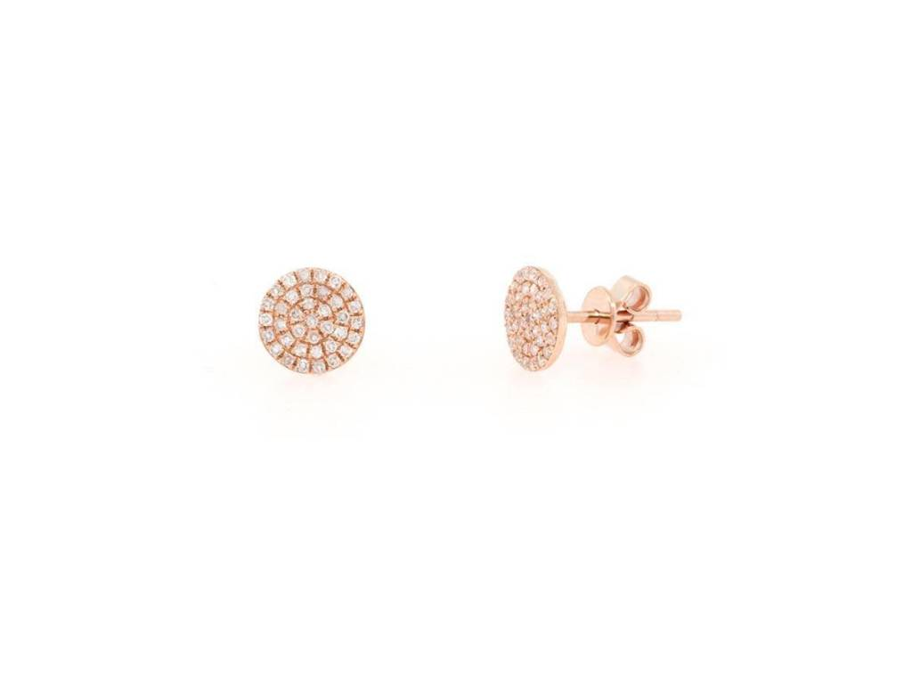 Rose Gold Pave Diamond Disc Stud Earrings