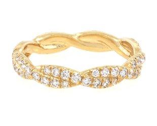 Trabert Goldsmiths Gold Pave Diamond Twist Band E1310