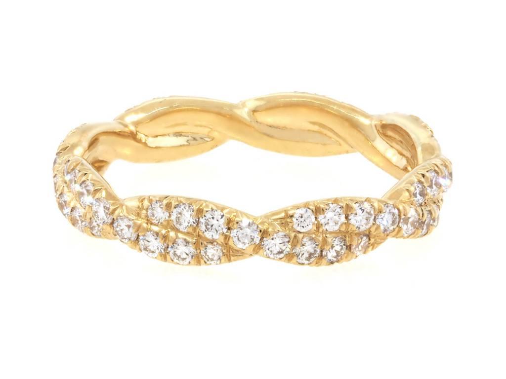 Trabert Goldsmiths Gold Pave Diamond Twist Band
