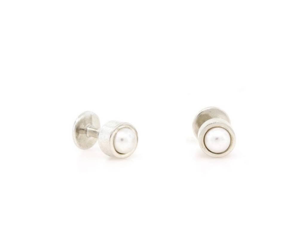 Trabert Goldsmiths Sterling Silver Pearl Cufflinks