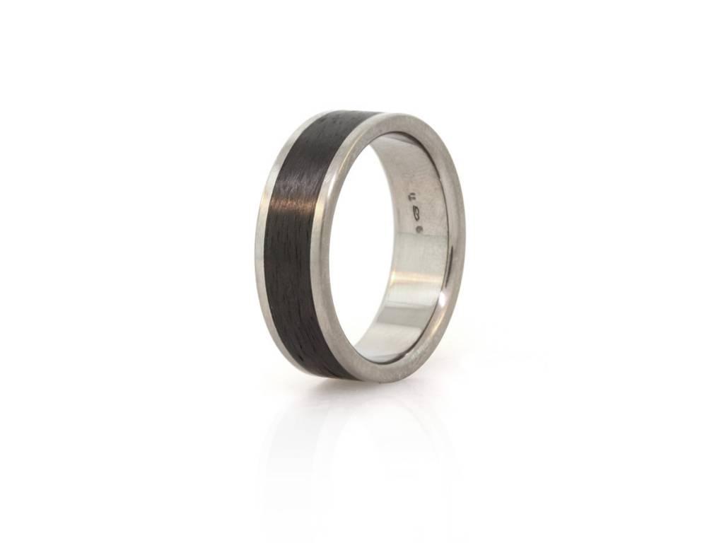 Flat Top Titanium and Carbon Fiber Ring