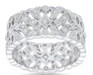 Beverley K Collection Wide Pave Diamond Band AB446