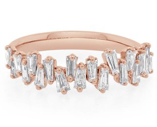 Trabert Goldsmiths Rose Gold Freeform Baguette Diamond Ring E1197