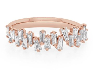 Trabert Goldsmiths Rose Gold Freeform Baguette Diamond Ring E1197