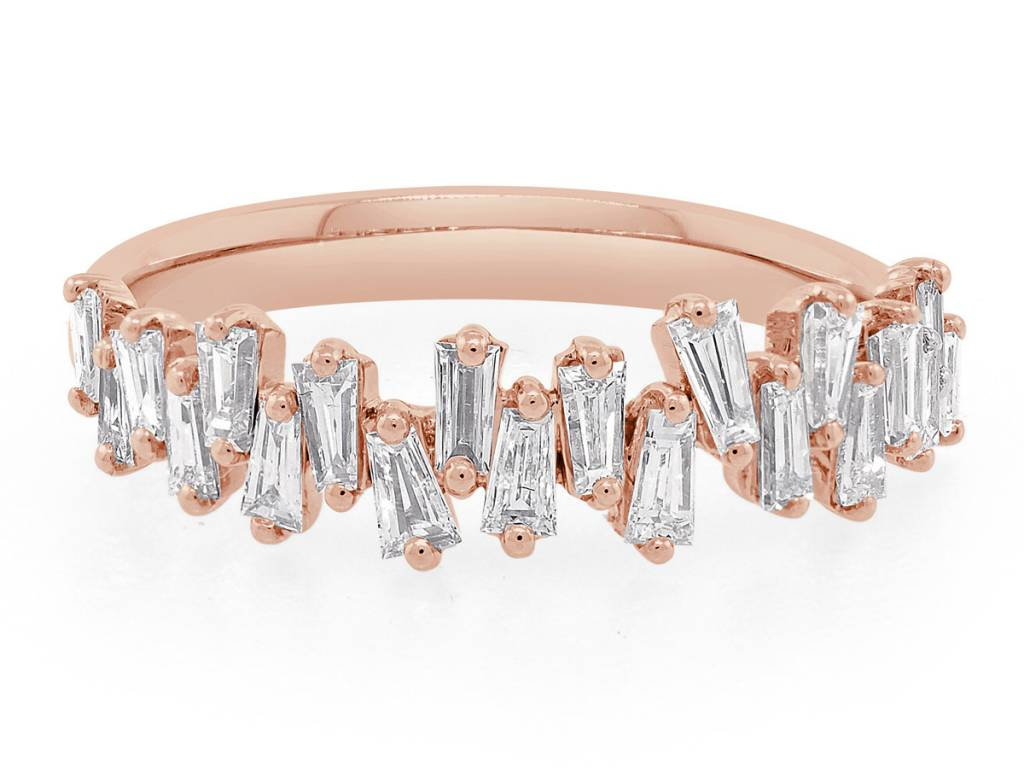 Trabert Goldsmiths Rose Gold Freeform Baguette Diamond Ring