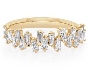 Freeform Baguette Diamond Gold Ring  E1441