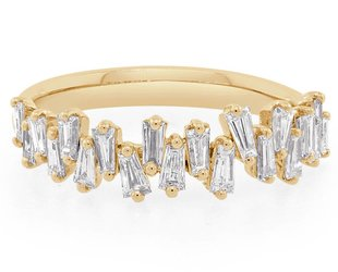 Trabert Goldsmiths Freeform Baguette Diamond Gold Ring  E1441