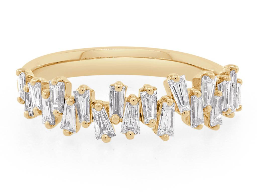 Trabert Goldsmiths Freeform Baguette Diamond Gold Ring