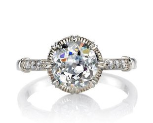 Single Stone 1.60ct 'Arielle' Vintage Inspired White Gold Ring