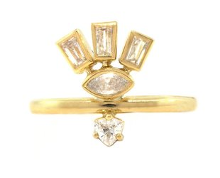 Triple Dia Baguette & Marquise Gold Totem Ring A71