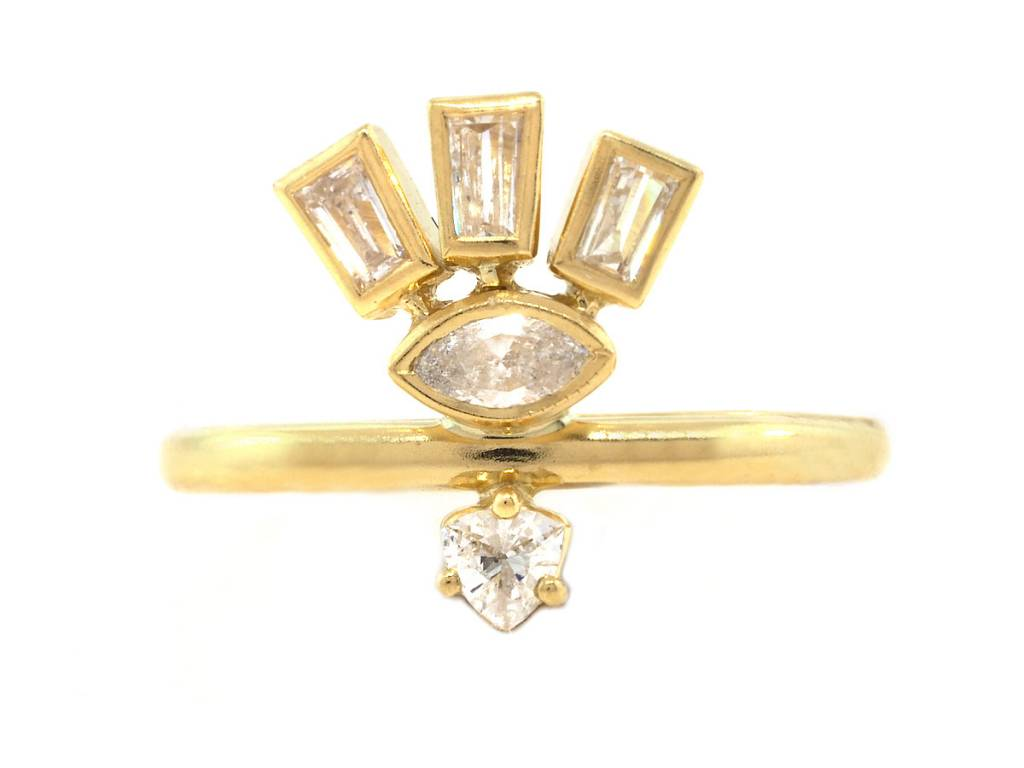 Triple Dia Baguette & Marquise Gold Totem Ring