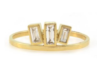 Triple Baguette Diamond Gold Ring A67