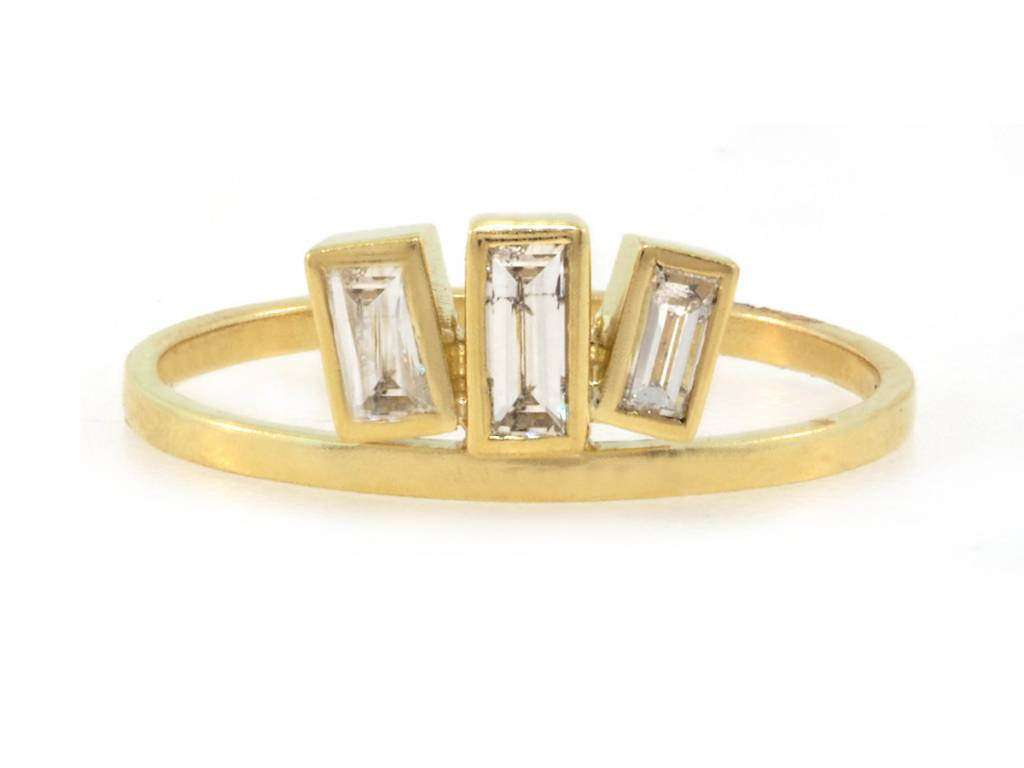 Triple Baguette Diamond Gold Ring