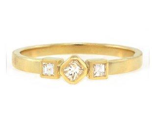 Amrapali Triple Square Diamond Gold Ring A70