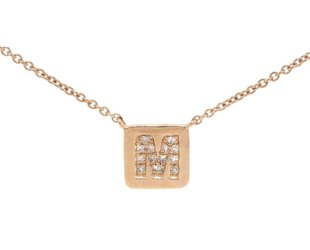 Liven Square Plaque 'M' Diamond Necklace LN16