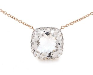 Trabert Goldsmiths White Topaz Cushion Cut Pendant E1496