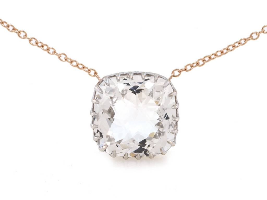 Trabert Goldsmiths White Topaz Cushion Cut Pendant