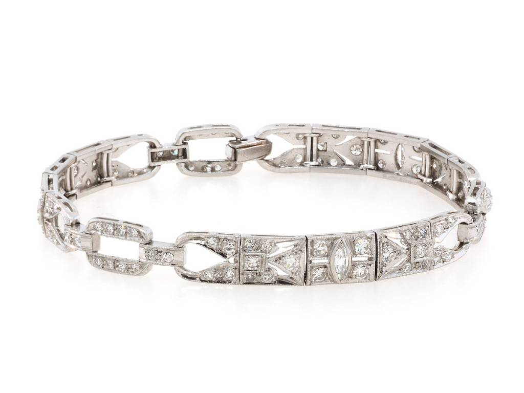 Trabert Goldsmiths Art Deco Diamond Platinum Bracelet