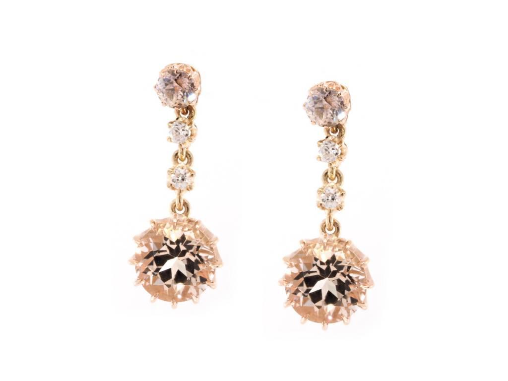 Trabert Goldsmiths Morganite & Diamond Drop Earrings