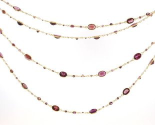 Trabert Goldsmiths Long Rhodolite Garnet Necklace KW59