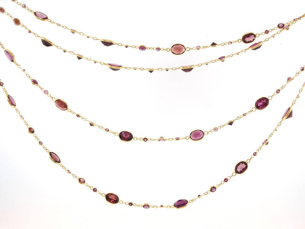 Trabert Goldsmiths Long Rhodolite Garnet Necklace