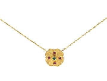 Trabert Goldsmiths Antique Clover Ruby & Emerald Pendant E1523