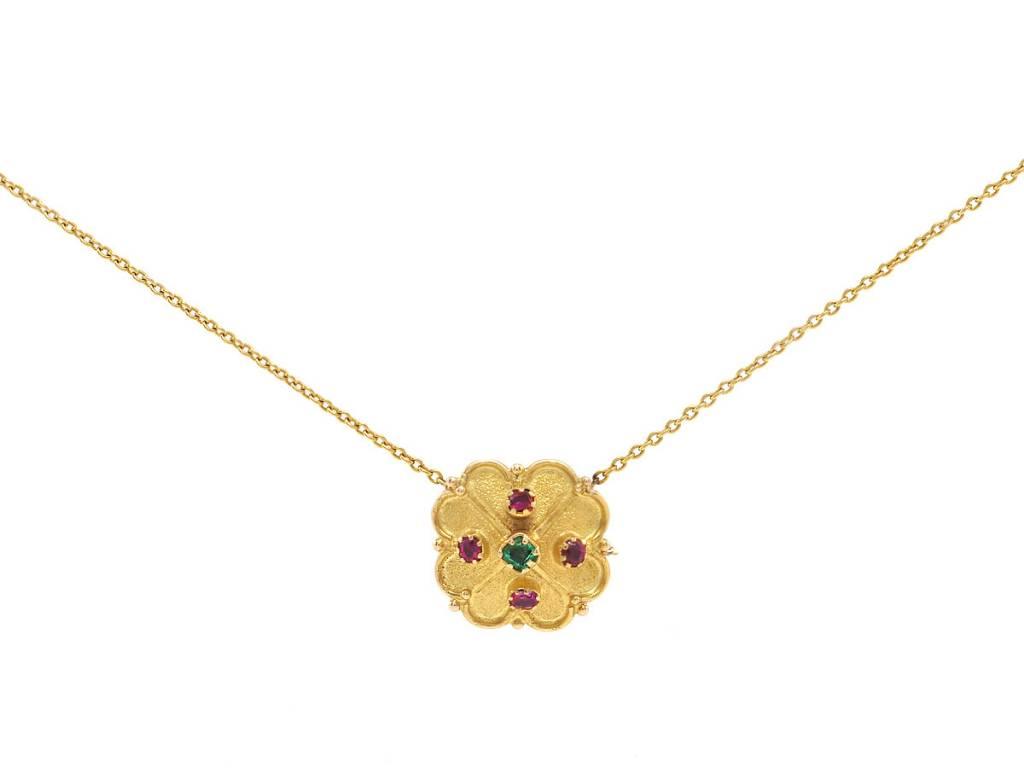 Trabert Goldsmiths Antique Clover Ruby & Emerald Pendant