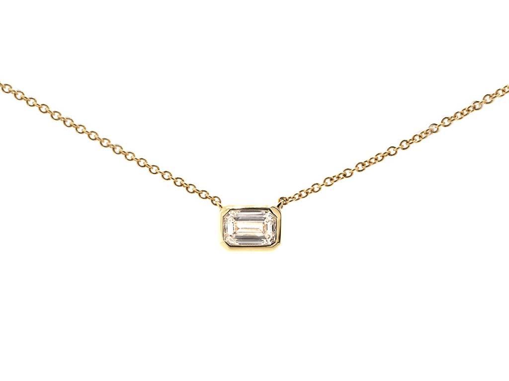 Trabert Goldsmiths Emerald Diamond Bezel Pendant