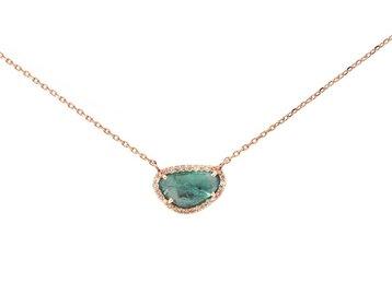 Celine Daoust Emerald Diamond Halo Pendant CE7