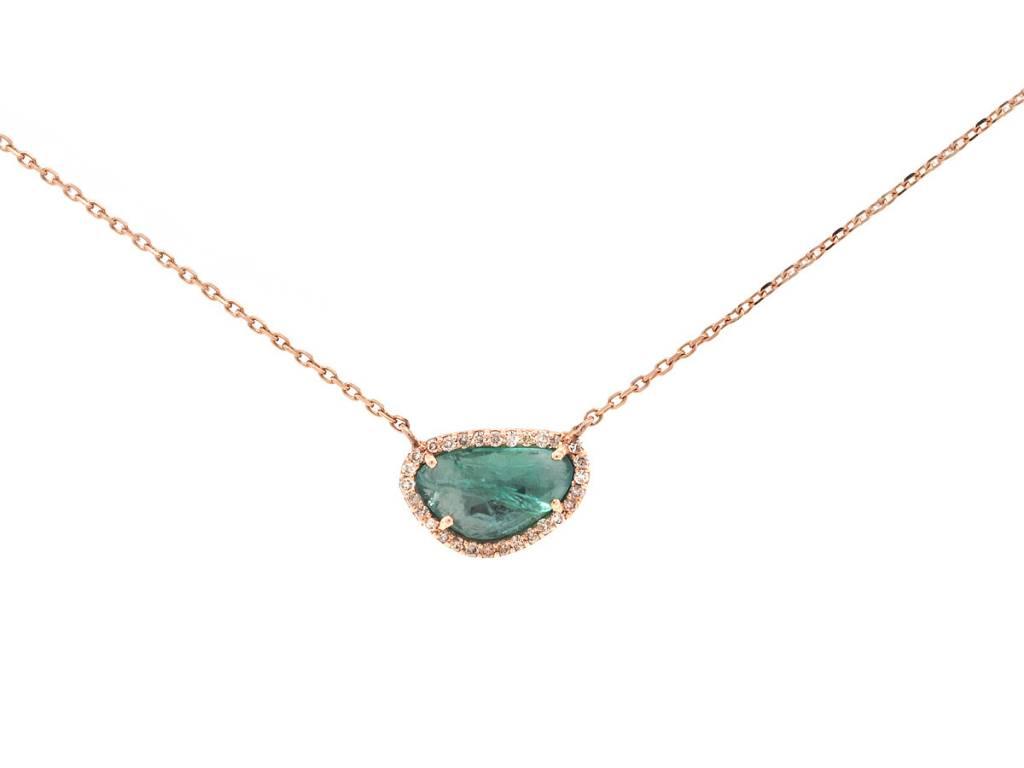 Emerald Diamond Halo Pendant