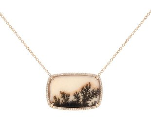 Trabert Goldsmiths Rose Gold Pave Dia Dendritic Agate Pendant E1533