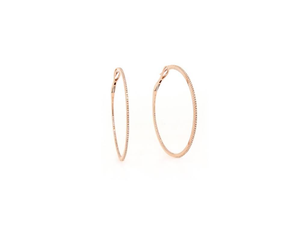 ceee3f200 Rose Gold Large Diamond Hoop Earrings LV1 - Trabert Goldsmiths