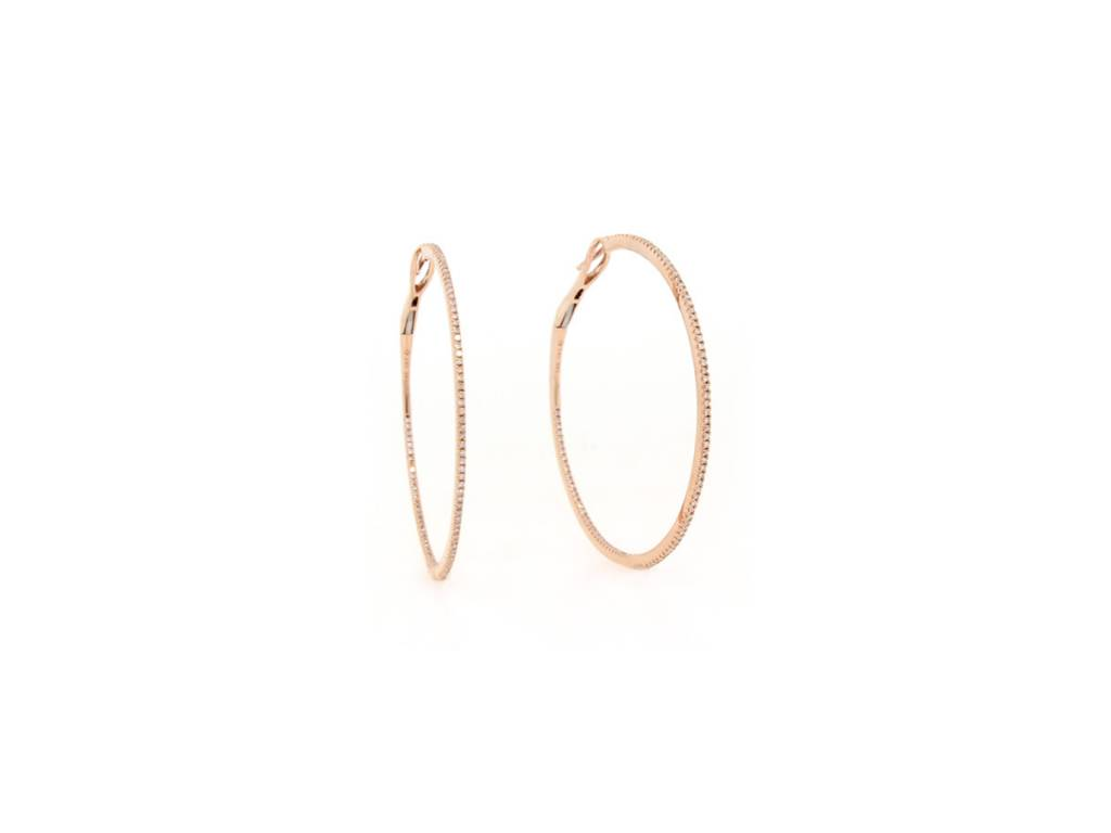 Rose Gold Large Diamond Hoop Earrings