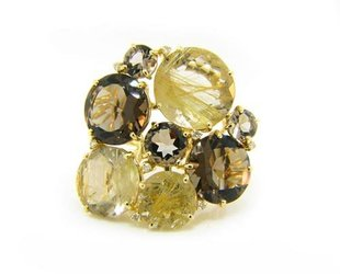 Trabert Goldsmiths Rutilated Quartz and Smokey Topaz Ring  VA9