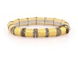Hammered Tube Diamond Link Bracelet  E1553