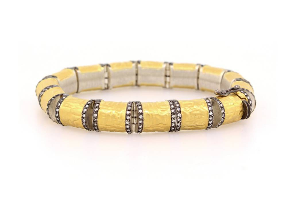 Trabert Goldsmiths Hammered Tube Diamond Link Bracelet