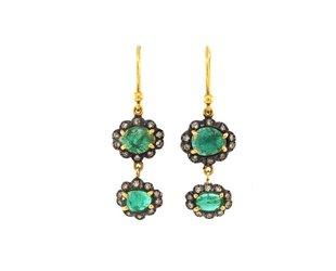 Trabert Goldsmiths Oval Emerald Double Drop Earrings E1538