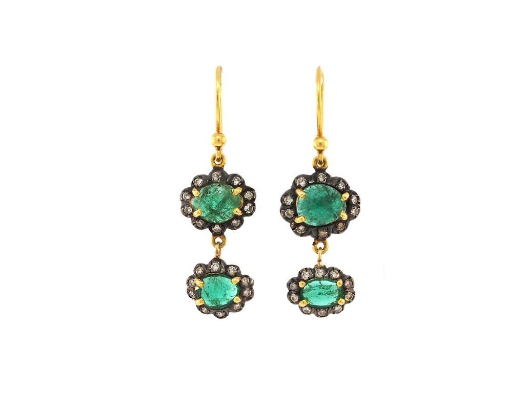 Trabert Goldsmiths Oval Emerald Double Drop Earrings