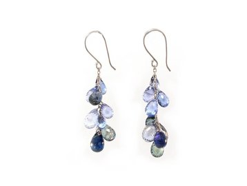 Trabert Goldsmiths Blue Sapphire Briolette Dangle Drop Earrings E1560