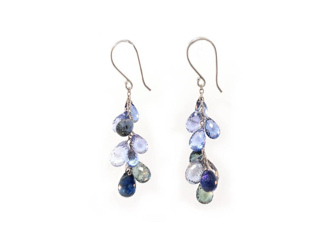 Trabert Goldsmiths Blue Sapphire Briolette Dangle Drop Earrings