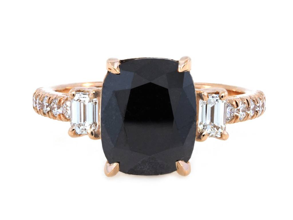 Trabert Goldsmiths 3.50ct Cushion Black Dia Dark Star Ring