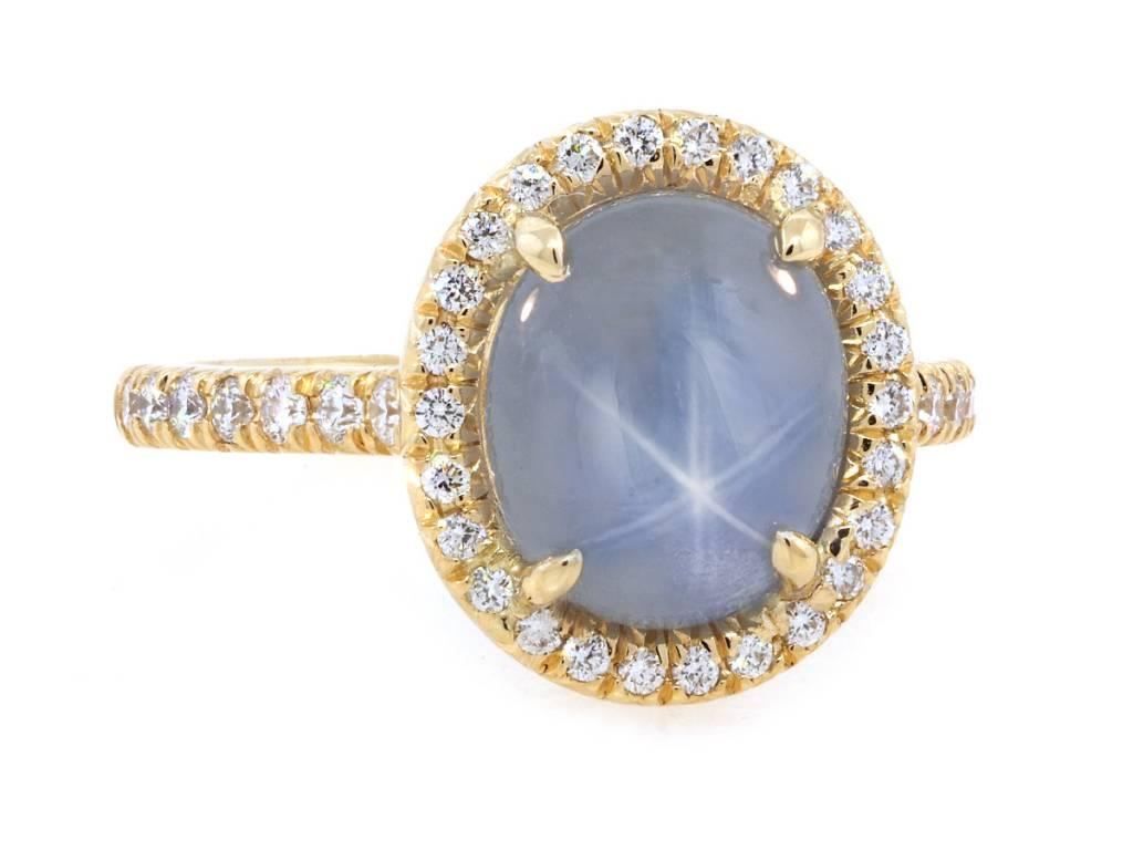 Trabert Goldsmiths 4.36ct Star Sapphire Goddess Ring