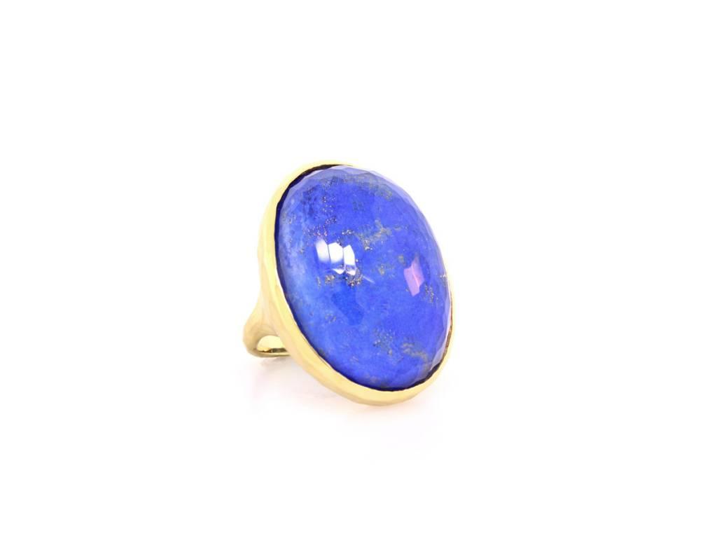 Lapis and Quartz Gold Statement Ring