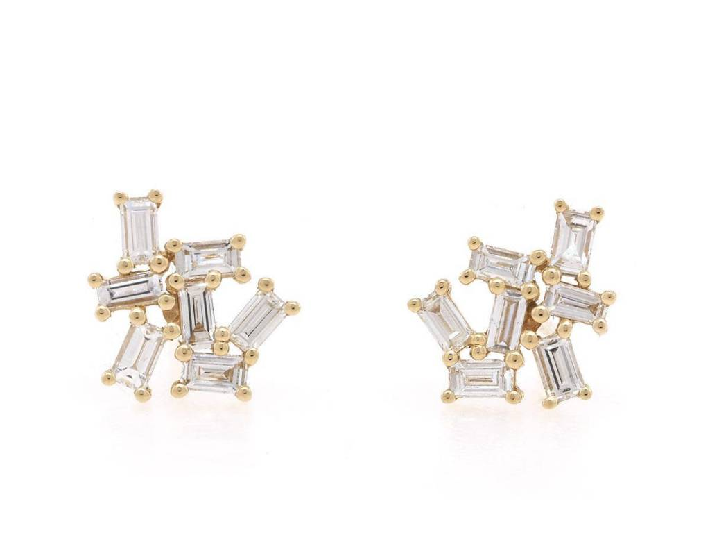 Trabert Goldsmiths Yellow Gold Baguette Cluster Earrings