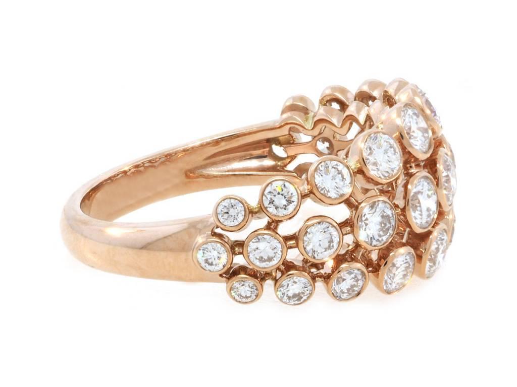 Trabert Goldsmiths Bezel Set Dia Rose Gold Dome Ring