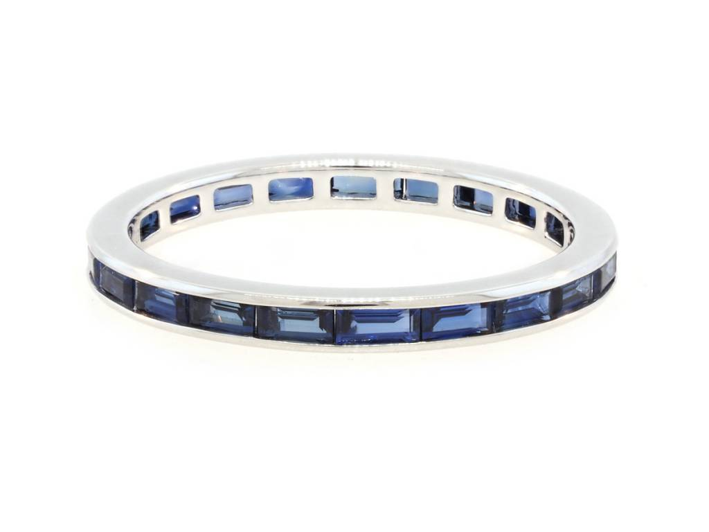 Trabert Goldsmiths Sapphire Baguette Eternity Band