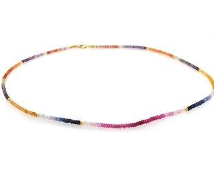 Trabert Goldsmiths Rainbow Ombre Beaded Sapphire Necklace E1579